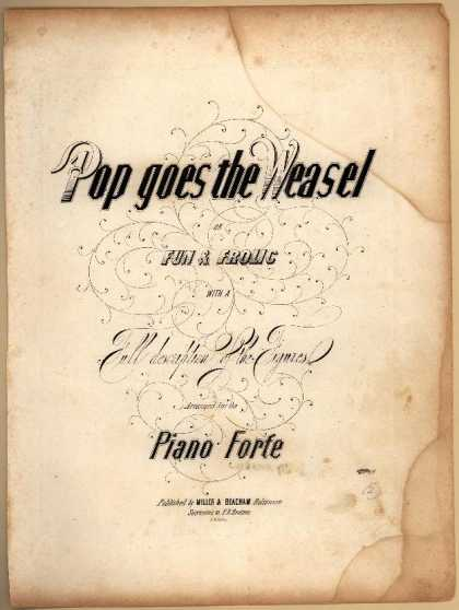 Sheet Music - Pop goes the weasel for Fun & frolic with a full description of the figures