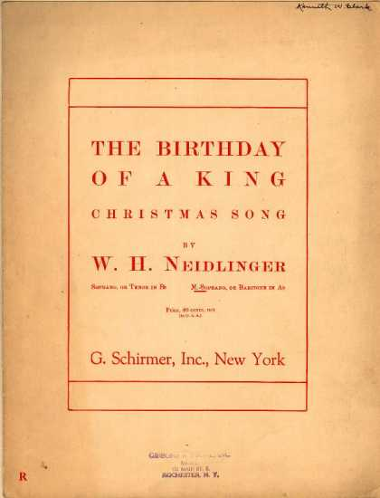 Sheet Music - The birthday of a King; Christmas song