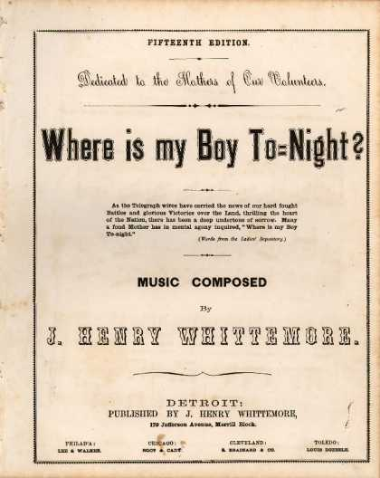 Sheet Music - Where is my boy to-night?