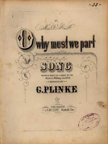 Sheet Music - O why must we part