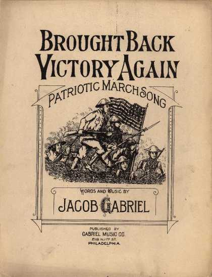 Sheet Music - Brought back victory again; Patriotic march song