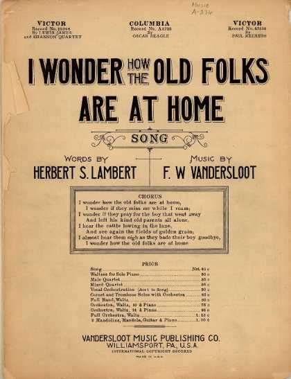 Sheet Music - I wonder how the old folks are at home