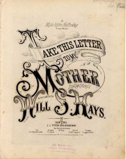 Sheet Music - Take this letter to my mother