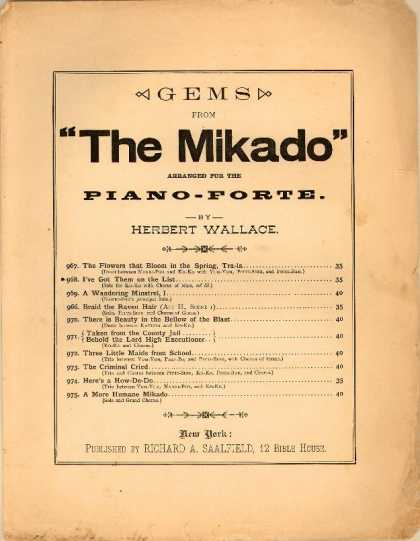 Sheet Music - As some day it may happen; I've got them on the list; The Mikado