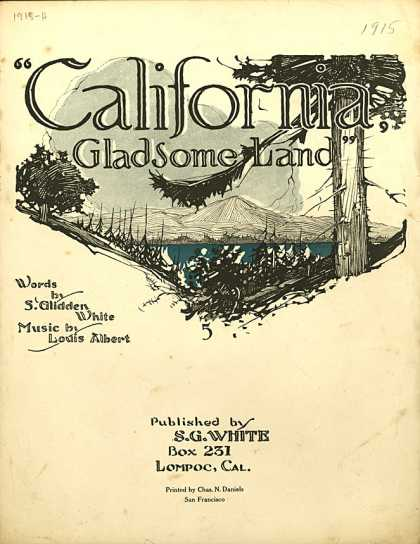 Sheet Music - California, gladsome land