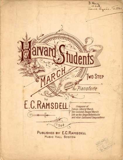 Sheet Music - Harvard students march two step