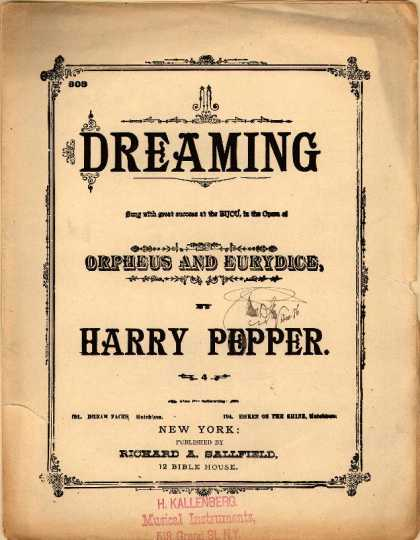 Sheet Music - Dreaming; Orpheus and Eurydice