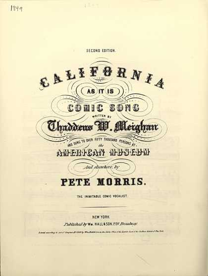 Sheet Music - California as it is