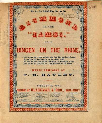 Sheet Music - Richmond on the James; Bingen on the Rhine