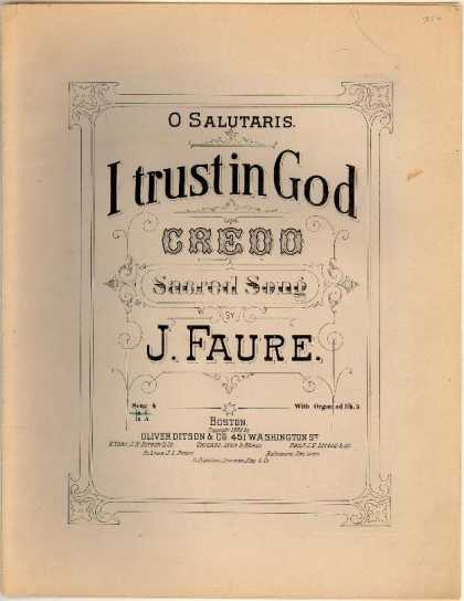 Sheet Music - I trust in God; Credo; O salutaris; O salutaris hostia