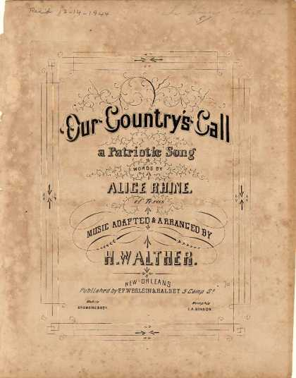 Sheet Music - Our country's call; A patriotic song