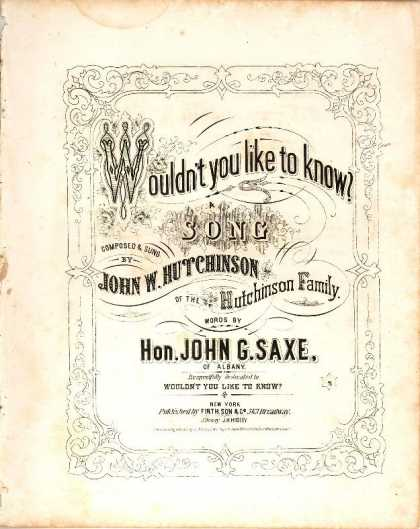 Sheet Music - Wouldn't you like to know!