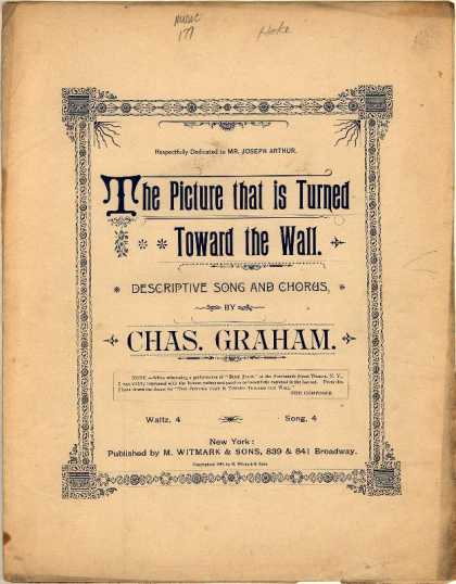 Sheet Music - Picture that is turned toward the wall; Pathetic song and chorus