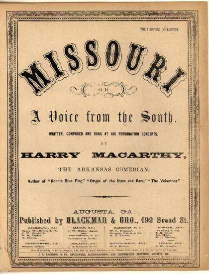 Sheet Music - Missouri or A voice from the South