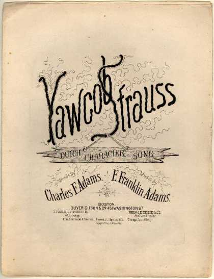Sheet Music - Yawcob Strauss; Dutch character song