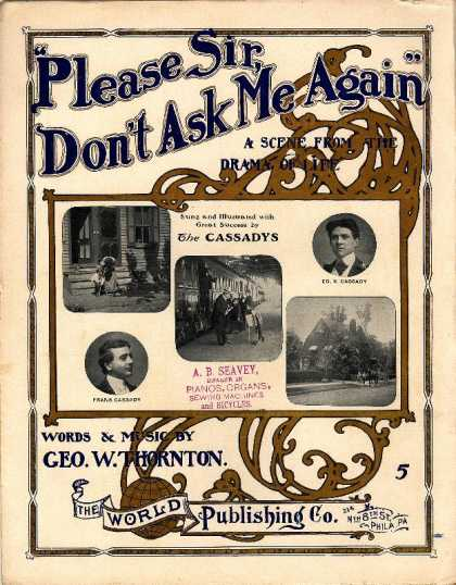 Sheet Music - Please Sir, don't ask me again; A scene from the drama of life