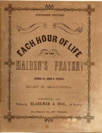 Sheet Music - Each hour of life; The maiden's prayer!