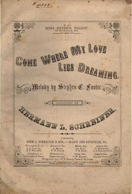 Sheet Music - Come where my love lies dreaming