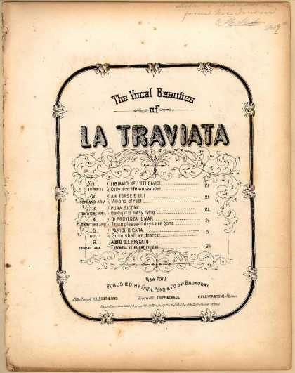 Sheet Music - Those pleasant days are gone; Di provenza il mar; Traviata