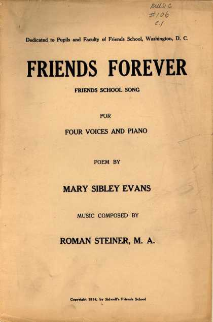 Sheet Music - Friends forever; Friends school song
