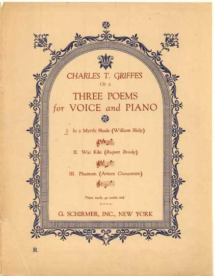 Sheet Music - In a myrtle shade; Poems; Op. 9, no. 1