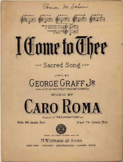Sheet Music - I come to Thee