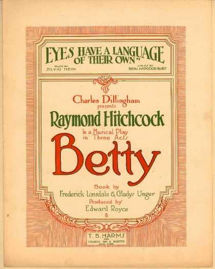 Sheet Music - Eyes have a language of their own; Betty