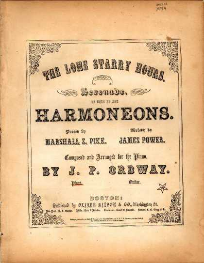 Sheet Music - Lone starry hours; Serenade