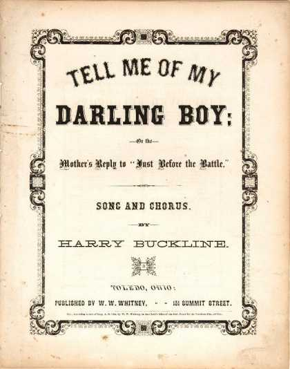 Sheet Music - Tell me of my darling boy; Mother's reply to Just before the battle