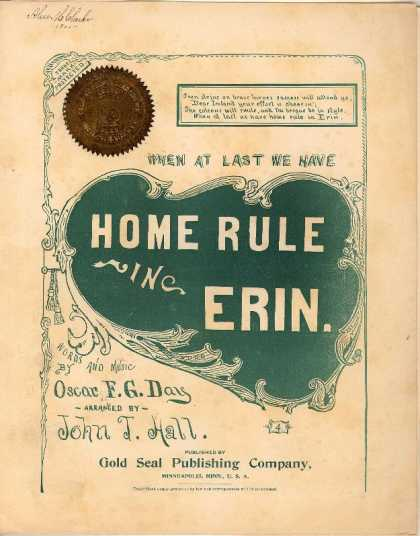 Sheet Music - When at last we have home rule in Erin