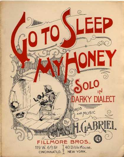 Sheet Music - Go to sleep my honey; Solo in darkey dialiect