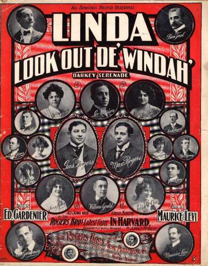 Sheet Music - Linda llok out de' windah'; In Harvard; Darkey serenade