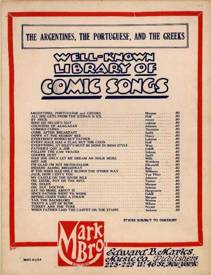 Sheet Music - The Argentines, the Portuguese and the Greeks