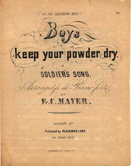 Sheet Music - Boys, keep your powder dry; Soldier's song