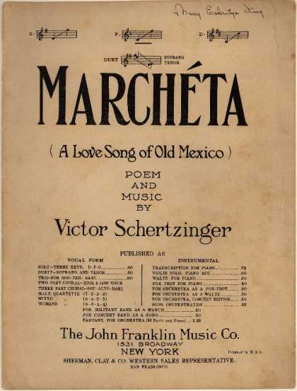 Sheet Music - Marcheta; Love song of old Mexico