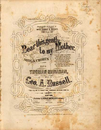 Sheet Music - Bear this gently to my mother