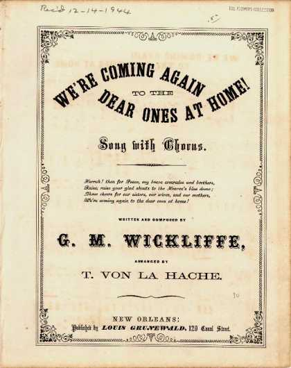 Sheet Music - We're coming again to the dear ones at home!