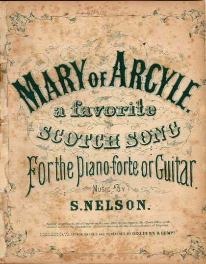 Sheet Music - Mary of Argyle, a favorite Scotch song