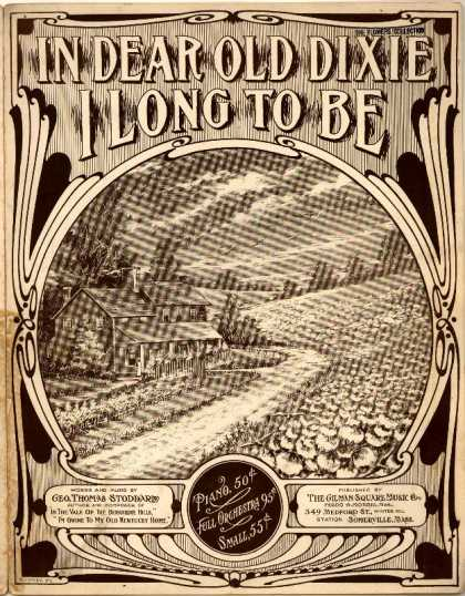 Sheet Music - In dear old Dixie I long to be