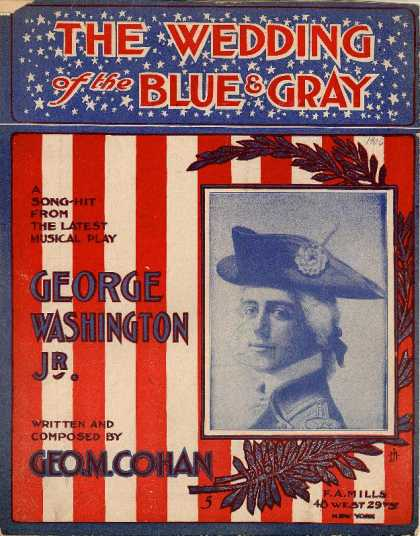 Sheet Music - The wedding of the Blue and the Gray; George Washington Jr.