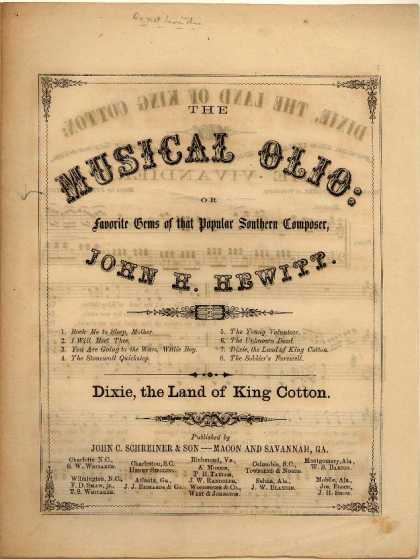 Sheet Music - Dixie, the land of King Cotton