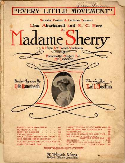 Sheet Music - Every little movement; Madame Sherry