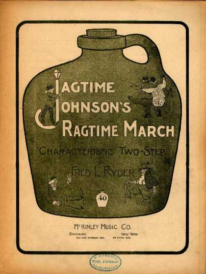 Sheet Music - Jagtime Johnson's ragtime march; Characteristic two-step