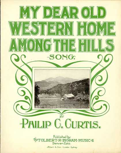 Sheet Music - My dear old western home among the hills