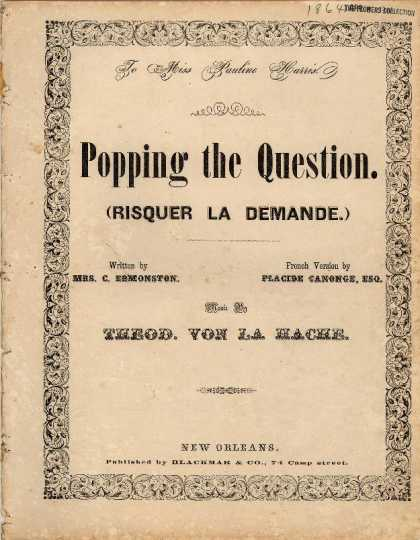 Sheet Music - Popping the question; Risquer la demande