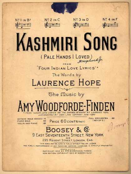 Sheet Music - Kashmiri song; Four Indian love lyrics; Pale hands I loved