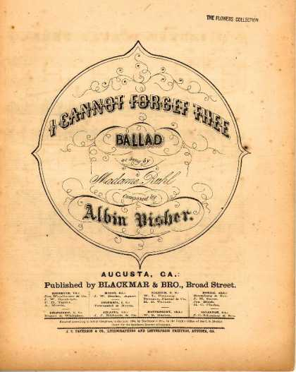 Sheet Music - I cannot forget thee; Ballad
