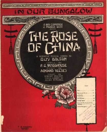 Sheet Music - In our bungalow; Rose of China