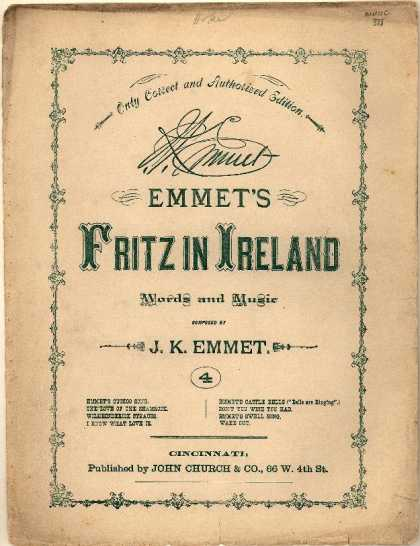 Sheet Music - Emmet's cuckoo song; Cuckoo song; Fritz in Ireland