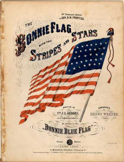 Sheet Music - Bonnie flag with the stripes and stars; Bonnie blue flag